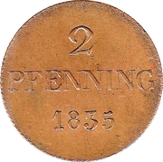 2 Pfenning - Ludwig I – reverse