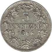 3 Kreuzer - Ludwig II – reverse