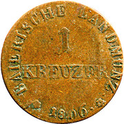1 Kreuzer - Maximilian I Joseph (Occupation of Tyrol) – reverse