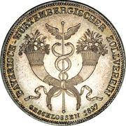 1 Conventionsthaler - Ludwig I (Geschichtstaler; Treaty Signing) – reverse