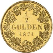 ½ Gulden - Ludwig II (Gold Pattern) – reverse
