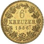 6 Kreuzer - Ludwig II (Gold Pattern) – reverse