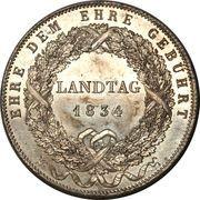 1 Conventionsthaler - Ludwig I (Geschichtstaler; Provincial Legislature) – reverse