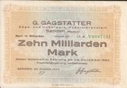10,000,000,000 Mark (Senden; G. Gagstätter) – obverse
