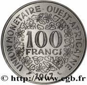 100 Francs CFA (non magnetic; Essai) – reverse