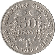 50 Francs CFA (non-magnetic) – reverse