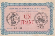 1 Franc - Chambres de Commerce de Belfort – obverse