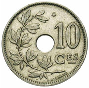 10 Centimes - Albert  I (French text; with star) – reverse