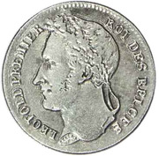 ¼ Franc - Léopold I – obverse
