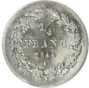 ¼ Franc - Léopold I – reverse
