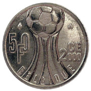 50 Francs - Albert II (French text; European Football Championship) – reverse