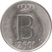 250 Francs - Baudouin I (25th Anniversary of Accession; french text) – reverse
