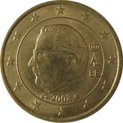 50 Euro Cent - Albert II (2nd map, 2nd type, 2nd portrait) -  obverse