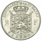 2 Francs - Léopold II (Dutch legend) – reverse