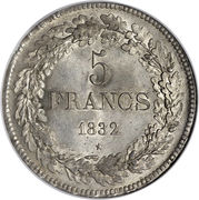 5 Francs - Léopold I – reverse