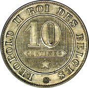 10 Centimes - Léopold II (French text) -  reverse