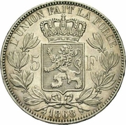 5 Francs - Léopold II (large head) – reverse