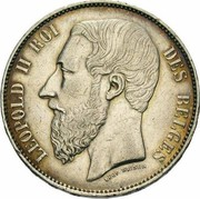 5 Francs - Léopold II (large head) – obverse