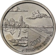 200 Francs - Albert II (German text; Nature) – reverse