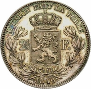 2½ Francs - Léopold I (large head) – reverse