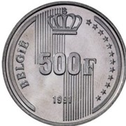 500 Francs - Baudouin I (dutch text; 40th Anniversary of Reign) – reverse