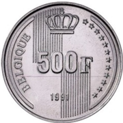 500 Francs - Baudouin I (french text; 40th Anniversary of Reign) – reverse