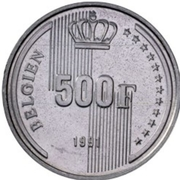 500 Francs - Baudouin I (german text; 40th Anniversary of Reign) – reverse