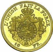 10 Francs - Léopold II – reverse