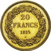 20 Francs - Léopold I – reverse
