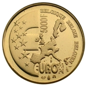 5000 Francs - Albert II (Belgian EU Presidency) – reverse