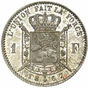 1 Franc - Léopold II (French text) – reverse
