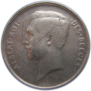 1 Franc - Albert I (French text) – obverse