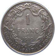 1 Franc - Albert I (French text) – reverse