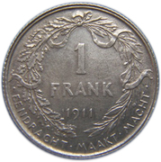 1 Franc - Albert I (Dutch text) – reverse