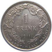 1 Franc - Albert I (Dutch text) -  reverse