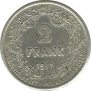 2 Francs - Albert I (Dutch text) – reverse