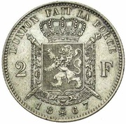 2 Francs - Léopold II (French legend) – reverse