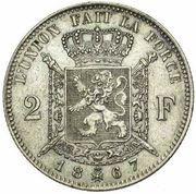 2 Francs - Léopold II (French legend) -  reverse