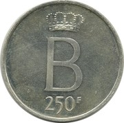 250 Francs - Baudouin I (25th Anniversary of Accession; dutch text) – reverse