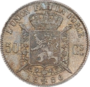 50 Centimes - Léopold II (French text) -  reverse
