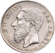 50 Centimes - Léopold II (dutch text) – obverse