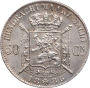 50 Centimes - Léopold II (Dutch text) – reverse