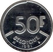 50 Francs - Baudouin I (French text) -  reverse