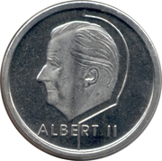 1 Franc - Albert II (French text) – obverse