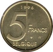 5 Francs - Albert II (French text) -  reverse
