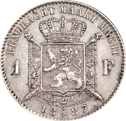 1 Franc - Léopold II (Dutch text) – reverse