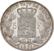 5 Francs - Léopold II (small head) – reverse