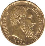 20 Francs - Léopold II (finer beard) – obverse