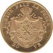 20 Francs - Léopold II (finer beard) – reverse