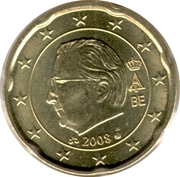 20 Euro Cent - Albert II (2nd map, 2nd type, 2nd portrait) – obverse